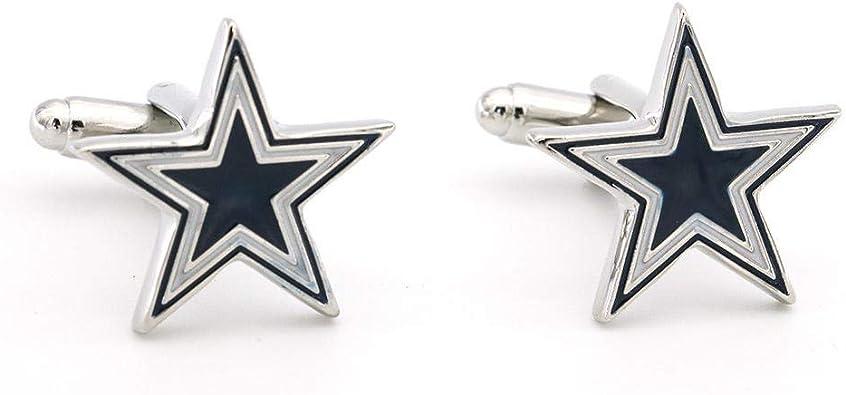 ZXFF Gemelos de Camisa Francesa de Alto Grado 2 Pares de Joyas Casuales de Negocios para Hombres Gemelos de Cobre de Metal de Cinco Puntas con Revestimiento de Estrella Azul y Blanco: