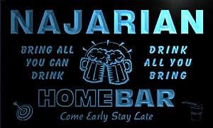 q31967-b NAJARIAN Family Name Home Bar Beer Mug Cheers Neon Light Sign