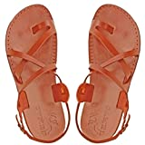 Jesus Sandals for Men in Leather - Made in Bethlehem, Israel - Gladiator Style Size 8, Brown