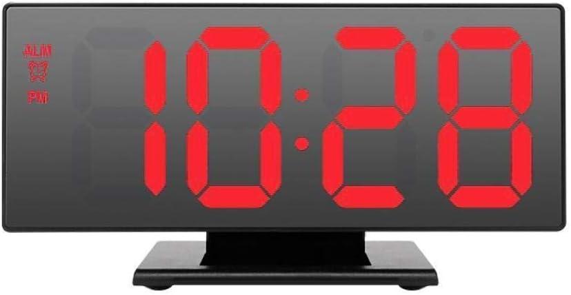 DZXYW Reloj Despertador Despertador Rojo Despertador casero LED Reloj Digital Espejo multifunción Snooze Pantalla Hora Noche LCD Escritorio lámpara Oficina USB Cable Reloj Digital: Amazon.es: Hogar