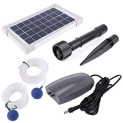 Anladia 2.5w Solar Powered Charging Oxygenator Pond Water Oxygen Pump Air Stone (Pond Oxygenator)