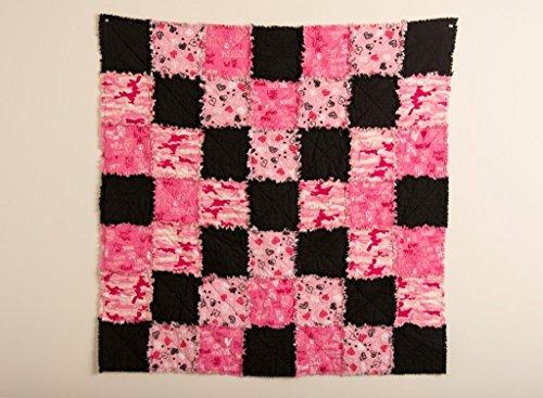 Pink and Black Rag Handmade Patchwork Quilt