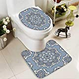 Analisahome Toilet carpet floor mat elegant square blue abstract pattern can be used to design pillows 2 Piece Shower Mat set