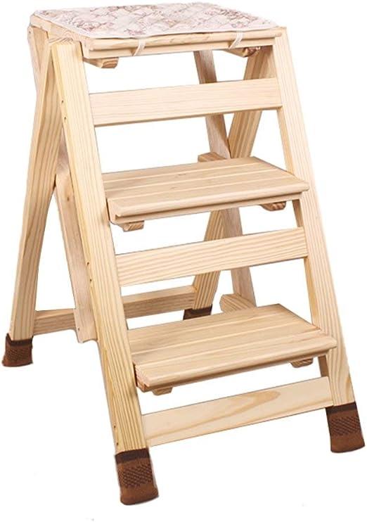 XHLJ - Escalera Plegable de Madera con 3 escaleras - Taburete multifunción - Escalera Doble para Interiores - Escalera para el hogar - 42 x 56 x 65,5 cm - Taburete Plegable: Amazon.es: Juguetes y juegos