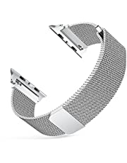 Watch Band 42mm, CHOETECH Watch Strap Stainless steel Milanese Watch Band Replacement Loop with Magnet Closure Compatible with iWatch Series 3/2/1 -Sliver
