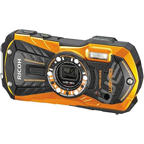 Ricoh WG-30W Wi-Fi Shock & Waterproof Digital Camera (Flame Orange) with 32GB Card + Case + Battery + Flex Tripod + HDMI Cable + Float Strap + Kit