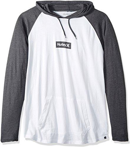 (Hurley Men's Premium Long Sleeve Graphic Tshirt Hoodie, White//Heather Grey, XL)