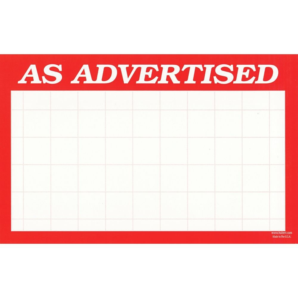 5 1//2 L x 3 1//2 H 100 Per Pack Sign Cards As Advertised White Grid with Red Border