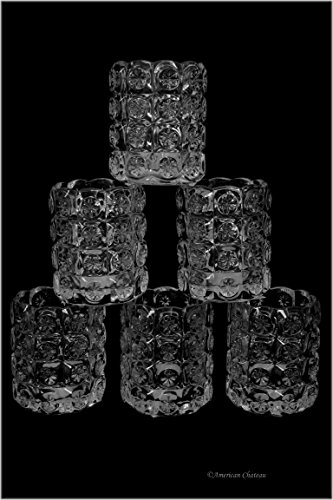 Set of 6 Thick Clear Star Embossed Glass Tealight Votive Candle - Votive Glass Embossed