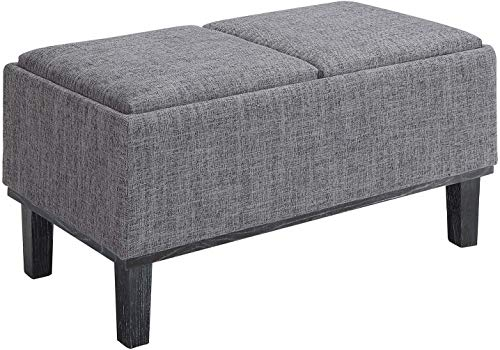 Convenience Concepts Designs4Comfort Brentwood Ottoman, Gray Fabric (Coffee Ottoman Room Living Table)