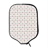 YOLIYANA Owls Durable Racket Cover,Lovely Good Night Themed Owls Pattern Ornate Style with Stars Moon and Clouds for Sandbeach,One Size