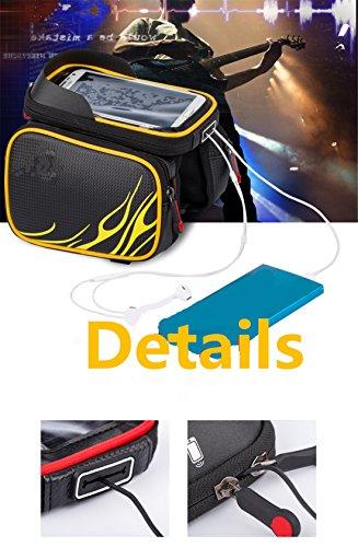 VolksRose Bicycle Tube Frame Cycling Pannier Water Resistant Bike Bag & 6.2 inch Mobile Phone Screen Touch Holder