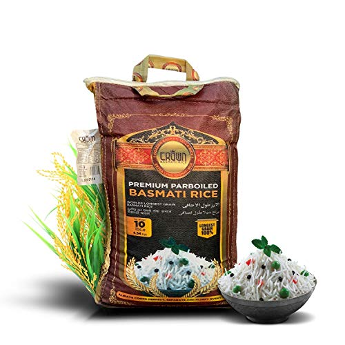Premium Quality Crown White Parboiled (Sella) Basmati Rice - White 2 years Aged Extra Lengthy Basmati Rice - 100% Authentic Extra Long Grain White Basmati Rice From the Foothills of Himalayas 10 lbs. (Best Quality Rice In Pakistan)