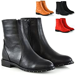 Womens Zipper Ankle Boots Flat Studed Trim Sole Casual Chelsea Boots
