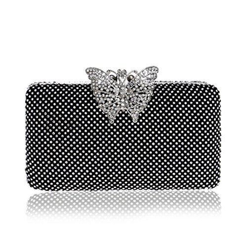 American Bag Dress Dinner Diamonds European Gold Fly Ladies evening Bag Color bag Ladies And Evening Black EWCxfwq