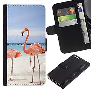 Apple (5.5 inches!!!) iPhone 6+ Plus / 6S+ Plus - Dibujo PU billetera de cuero Funda Case Caso de la piel de la bolsa protectora Para (Pink Beach Flamingo)