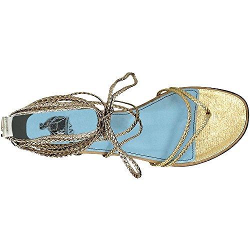 sandalias modelo de Lanvin piel de tiras planos de de Oro becerro oro FWSHCT1CGAXYE16 de Número 577gU