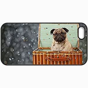 Personalized Protective Hardshell Back Hardcover For iPhone 5/5S, Dog Pug Box Dog Design In Black Case Color