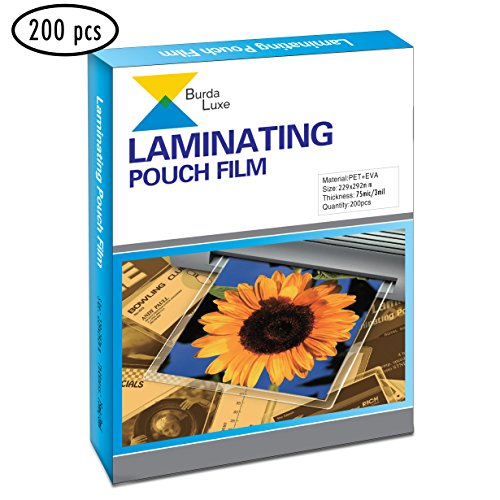 9-inch x 11.5-inch Premium Universal Thermal Laminating Pouches 200pcs by Burda Luxe