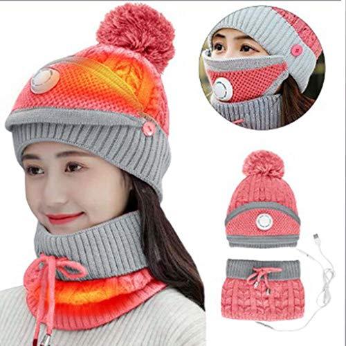 LHTLHC Tres Piezas de Sombrero de la preservacion del Calor de calefaccion electrica USB al Aire Libre Bufanda del Sombrero de Punto,A