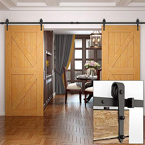 Yaheetech 12Ft Sliding Barn Door Closet Hardware Set Black Wood Antique Style Double Track Kit System (Cost To Replace Sliding Glass Door Rollers)