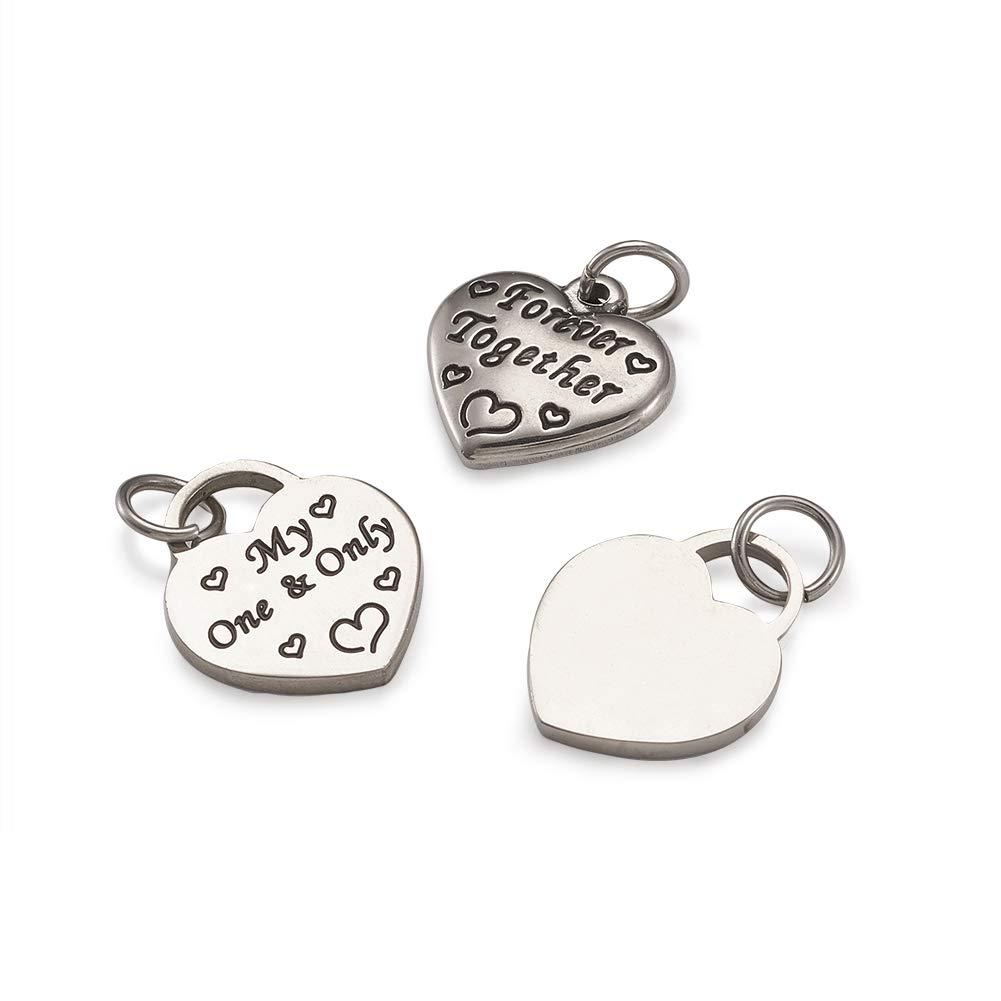 Pandahall 100pcs Tibetan Style Heart Alloy Pendants 9.5~18 x 9.5~17mm 10 Style Antique Silver Sweet Heart Charms for DIY Earring Bracelet Jewelry Making