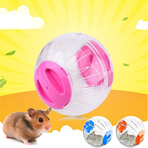 FULLIN Pet Hamster Exercise Ball Hamster Gerbil Rat Ball Plastic PLaying Toys Animals Mice Hamster Gerbil Safe Jogging Play Cage 512A77k2e3L
