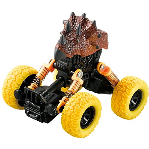 (Dinosaur Monster Truck Toys,Off-Road Friction Powered Pull Back Cars with Spring & Big Wheel,Triceratops Car Toys for Aged 3 and Above Boys & Girls Gifts)