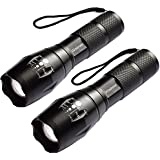 LED Flashlight - wsiiroon 1600 Lumen XML-T6 Handhold Flashlight-Portable, Zoomable, Waterproof, Super Brightness with 5 Light Modes for Indoor and Outdoor Use, 2 pack (Batteries Not Included)