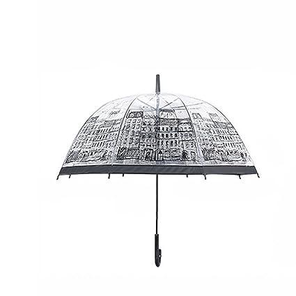 wildeal mujeres transparente paraguas casa edificio al aire libre Lady niña con forma de champiñón lluvia