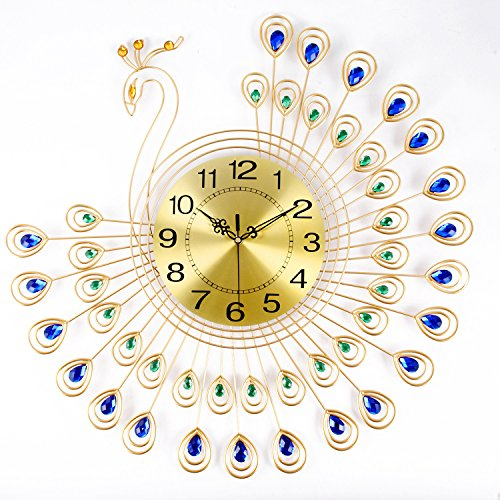 NEOTEND Peacock  Diamonds Decorative Clock