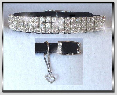 - ~Black Velvet & Diamond Sweetheart~Rhinestone Pet Dog Cat Collar Small