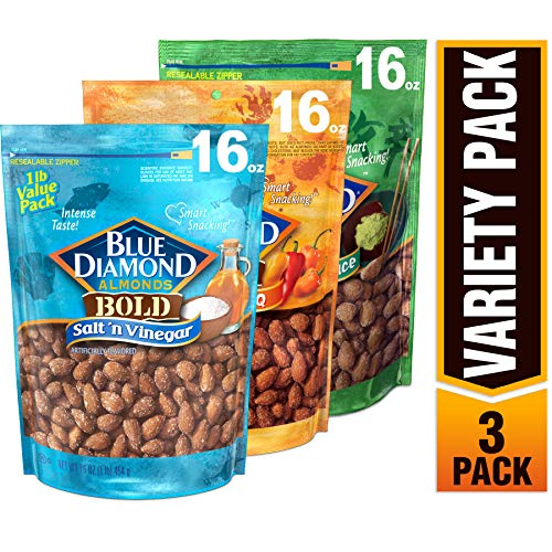 Blue Diamond Almonds BOLD Favorites Variety Pack - Salt 'n Vinegar, Habanero BBQ, & Wasabi & Soy Sauce, 16 Ounce BOLD Variety Pack (Pack of 3) (Blue Diamond Almonds Wasabi And Soy Sauce)