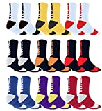 Moisture Wicking Sweat Absorbing Compression Support Basketball Socks (9 PAIRS, ASSORTED 9-PACK)