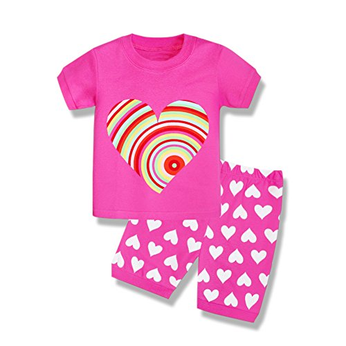 Toddler Girl Pajamas, Baby Short Sleeve Pjs Sets with Hearts Print for 2-7 Years