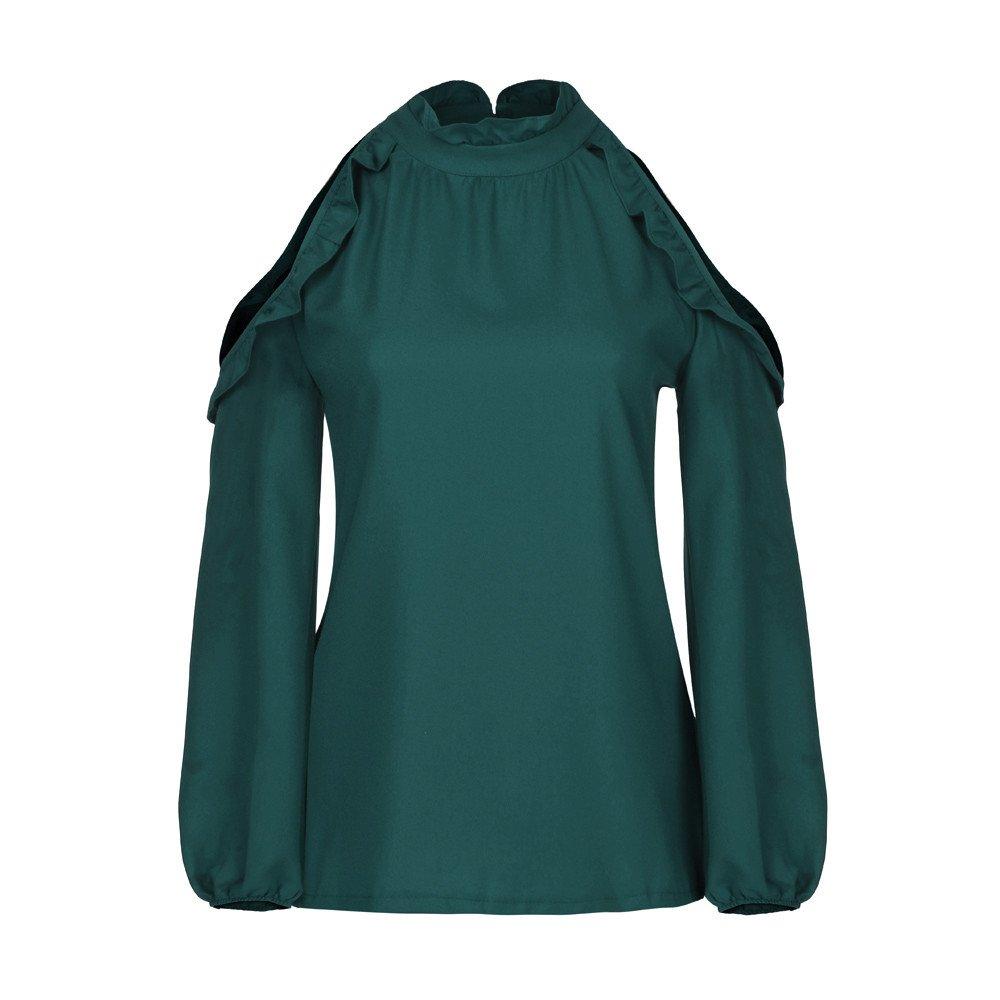 iZHH Womens Tops Fashion Solid Ruffles Full Sleeve Ruffled Collar T-Shirt Tops Blouse(Green,S/US-XS)