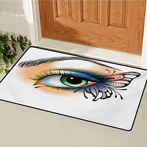 GUUVOR Eye Universal Door mat Fantasy Womans Eye Make Up Butterfly Wing Vibrant Colors Eyelashes Female Looking Door mat Floor Decoration W19.7 x L31.5 Inch Multicolor