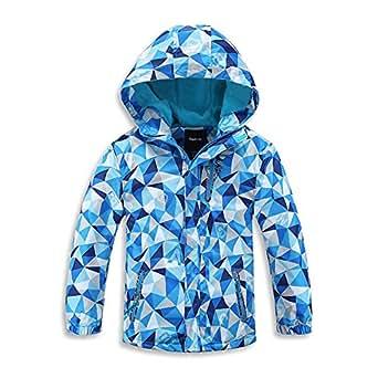 HZYBABY Boys Girls Lightweight Windbreaker Zip Hooded Jacket Fleece Lined Kids Winter Warm Windproof Rain Coat Outwear - Blue - 5-6T