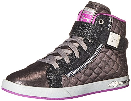 Skechers Kids Girls' Shoutouts-Quilted Crush Running Shoe,Pewter,