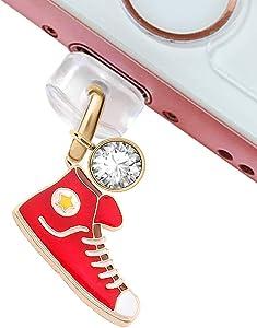 CP5 USB Charging Port Anti Dust Plug Cute Red Sport Shoe Pendant Phone Charm for iPhone 11/ XS MAX/XR/X/8 Plus/7/6S/6/SE iPad iPod