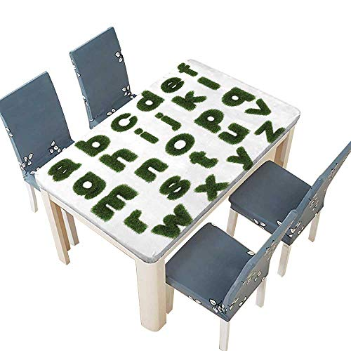 PINAFORE Polyester Tablecloth Lowercase Letters of Green Grass Alphabet Isolated on White Easy Care Spillproof W41 x L80.5 INCH (Elastic Edge)