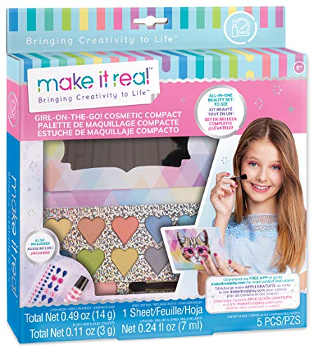 Make It Real - Girl-on-The-Go Cosmetic Compact. Girls Makeup Kit is a Perfect Starter Cosmetic Set for Kids and Tweens. Includes Cat Design Makeup Case, Compact Mirror, Eyeshadow, Blush and Lip Gloss]()