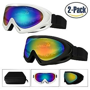 Ski Goggles 2 Pack,Snowboard Goggle for Kids,Boys,Girls,Youth,Men,Women,with UV 400 Protection,Wind Resistance,Anti-Glare Lenses,Anti-Fog Nano-Microfiber Wiper,Stored in Eyewear Case (White&Black)