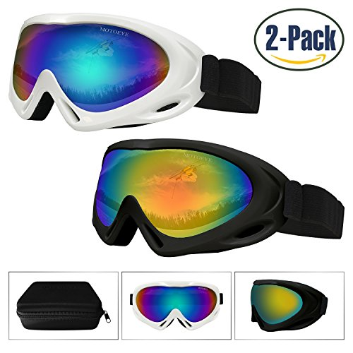 Ski Goggles 2 Pack,Snowboard Goggle for Kids,Boys,Girls,Youth,Men,Women,with UV 400 Protection,Wind Resistance,Anti-Glare Lenses,Anti-Fog Nano-Microfiber Wiper,Stored in Eyewear Case - Eyewear Shape Face Guide