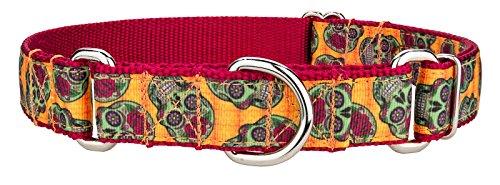 Country Brook Design Sugar Skulls Ribbon Martingale Dog Collar - Medium