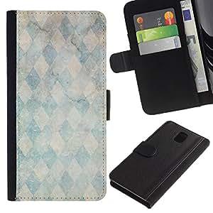 All Phone Most Case / Oferta Especial Cáscara Funda de cuero Monedero Cubierta de proteccion Caso / Wallet Case for Samsung Galaxy Note 3 III // Marble Stone Pattern Teal