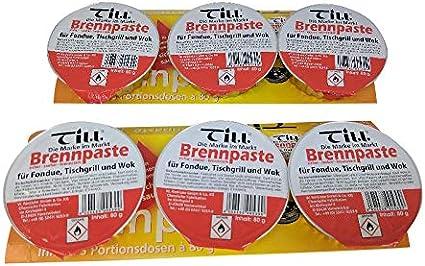 Till Brennpaste Quemador de platos de gel para fondue, 6 ollas de 80 g, dos unidades