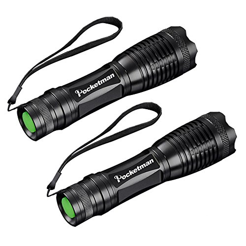 5 Pack New Version Pocketman T6 1200 Lumens Led Tactical Flashlight Water Resistant Handheld Torch with 5 Modes and Adjustable Focus