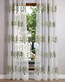 Best GoodGram® Curtains For Living Rooms - ASide BSide Trees Embroidered Transparent Window Treatments Rod Review
