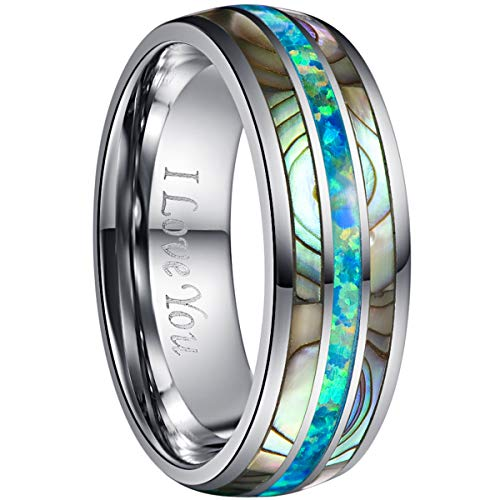 NUNCAD Tungsten Wedding Band with Abalone Shell and Marine Opal Inlay Polished Finish Size 10.5